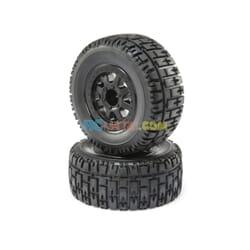 FR/R TirePrmntBlk Wheel (2)1/10 2wd/4wd Torment