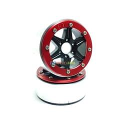 LLantas de Aluminio Beadlock PT-Sixstar Negra/Roja 1.9 (2 uds.) sin Hub
