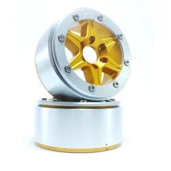 LLantas de Aluminio Beadlock PT-Sixstar Dorada/Plata 1.9 (2 uds.) sin Hub