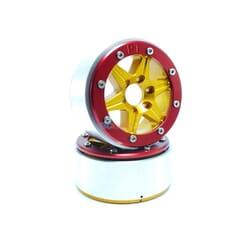 LLantas de Aluminio Beadlock PT-Sixstar Dorada/Roja 1.9 (2 uds.) sin Hub