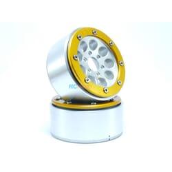 LLantas de Aluminio Beadlock PT-Gun Plata/Dorada 1.9 (2 uds.) sin Hub