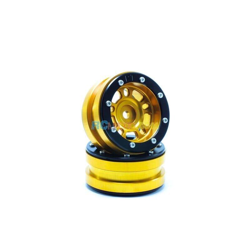 LLantas de Aluminio Beadlock PT-Distractor Dorada/Negra 1.9 (2 uds.)