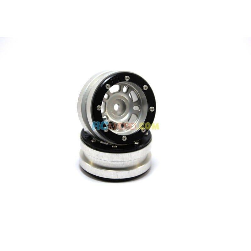 LLantas de Aluminio Beadlock PT-Distractor Plata/Negra 1.9 (2 uds.)