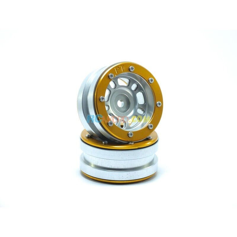 LLantas de Aluminio Beadlock PT-Distractor Plata/Dorada 1.9 (2 uds.)
