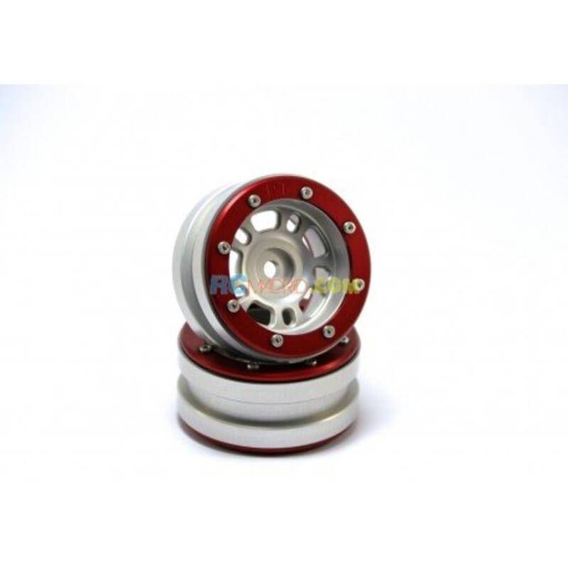 LLantas de Aluminio Beadlock PT-Distractor Plata/Roja 1.9 (2 uds.)