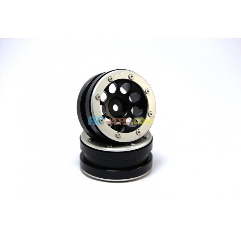 LLantas de Aluminio Beadlock PT-Ecohole Negra/Plata 1.9 (2 uds.)
