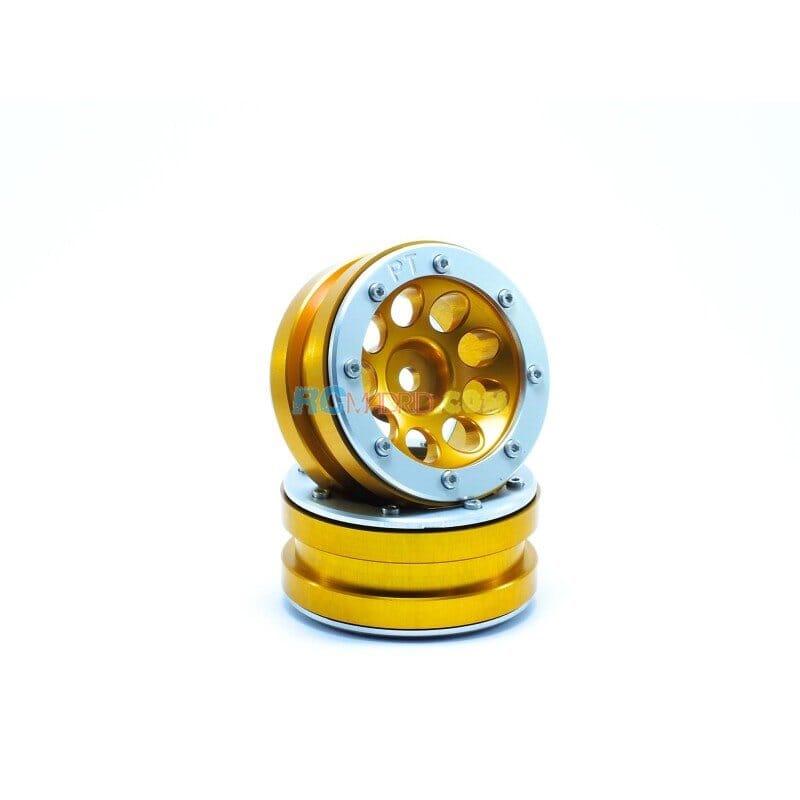 LLantas de Aluminio Beadlock PT-Ecohole Dorada/Plata 1.9 (2 uds.)