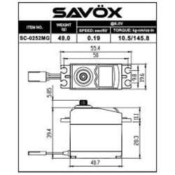 Servo Digital Savox SC0252MG  (10Kg / 0.19ms)
